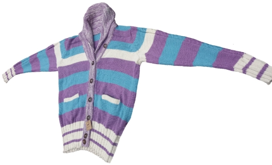 Women Baby Alpaca Cardigan_ Turquoise_stripes_v1_sd