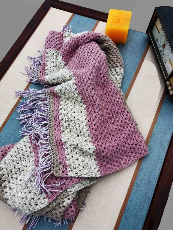 Royal Alpaca Throw blanket_ v222 pink-beige-ivory_crochet_ v333sd