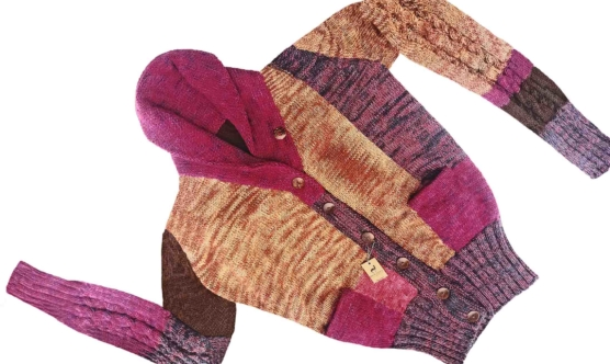 Women Oversized Shawl Cardigan Mixed Colored, Handknitted