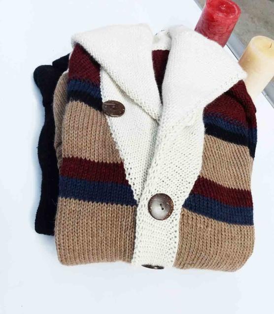 Royal Alpaca Shawl Cardigan_BEIGE_Mix_stripes_v2_SDDD