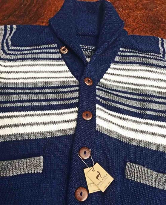Royal Alpaca Navy blue Cardigan blue stripes_v444_sd