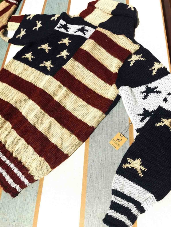 sd_Royal Alpaca Shawl Cardigan USA flag_ v777