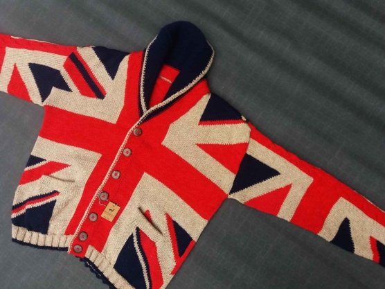 Royal Alpaca Shawl Cardigans, British flag pattern, Handknitted by andean women artisans