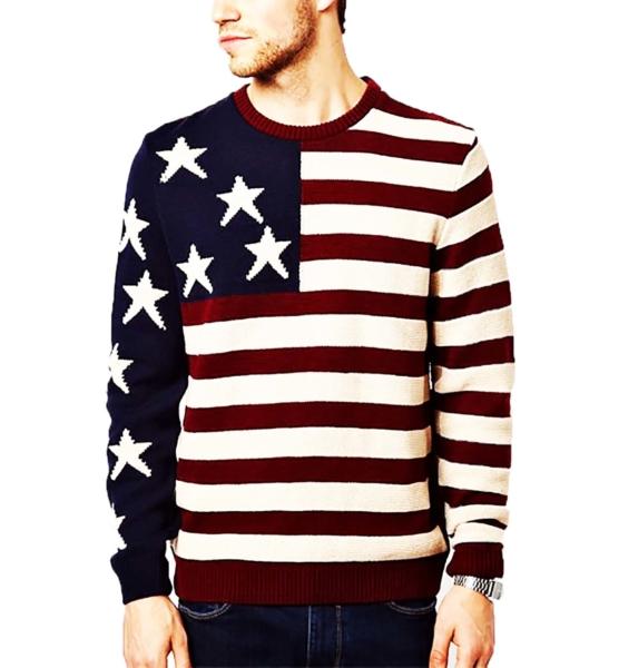 Crewneck Pullover Sweater Baby Alpaca_ USA Flag_v1_sddd