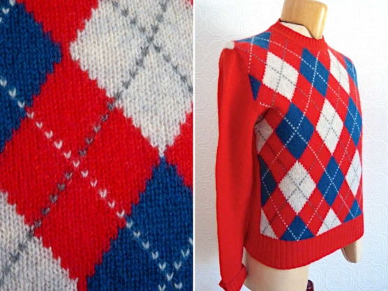 Royal Alpaca Crewneck Sweater Pullover_ Red-diamonds_v222_sd