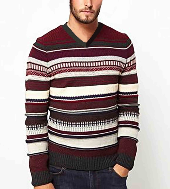 Royal Alpaca Crewneck Sweater Pullover_ Red_stripes_v1_sd_VNECK_sddd