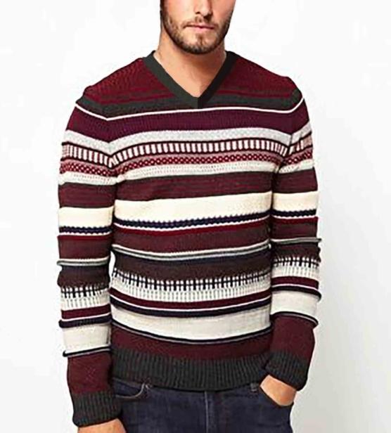 Royal Alpaca Crewneck Sweater Pullover_ Red_stripes_v1_sd_VNECK_sddd