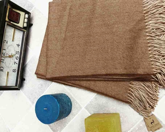 Baby alpaca throw blanket beige 130x180_sd2