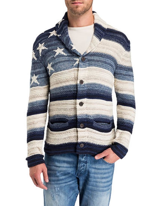 Royal Alpaca Shawl Cardigan_ USA flag_blue_v1___ssss