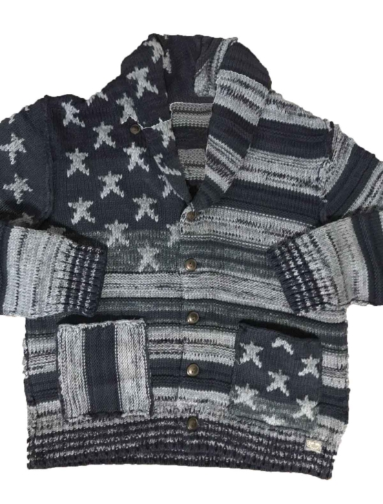 Royal Alpaca Shawl Collar Cardigan USA flag-grey_mixed_v122