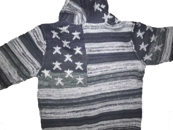 Royal Alpaca Shawl Collar Cardigan USA flag-grey_mixed_v2222