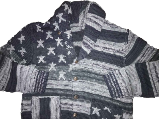 Royal Alpaca Shawl Collar Cardigan USA flag-grey_mixed_v3222