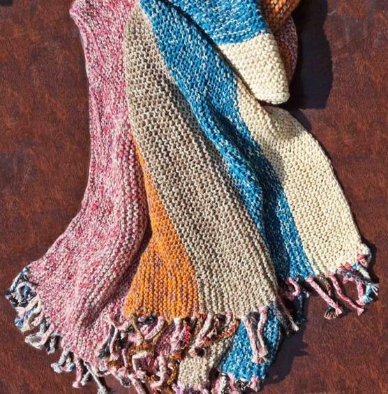 Royal Alpaca throw blanket Crochet Muti stripes AMZN33 sd555