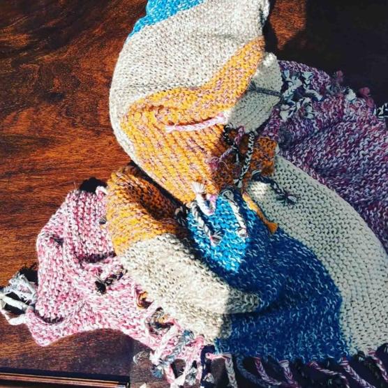 Royal Alpaca throw blanket Crochet Muti stripes AMZN777_sd1