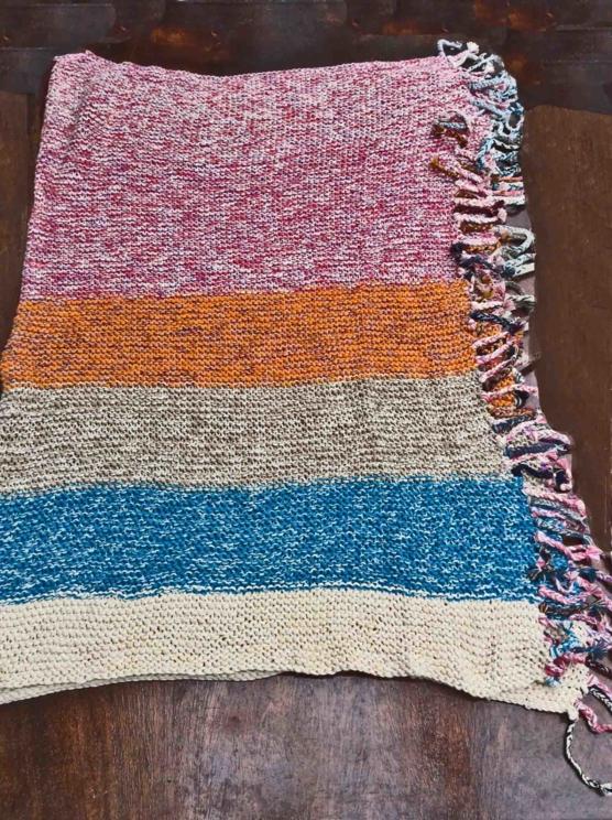 Royal Alpaca throw blanket Crochet Muti stripes AMZN999 sd33