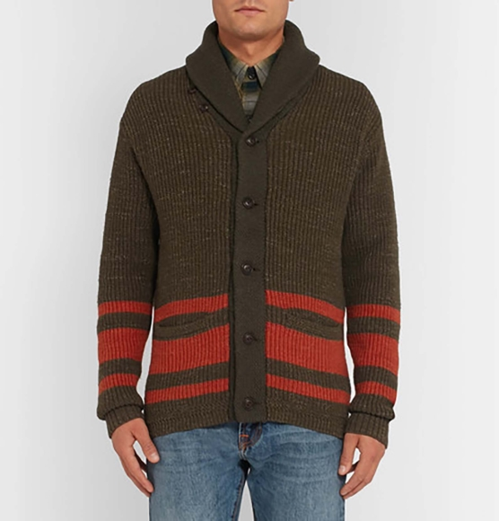 Royal Alpaca Shawl Cardigan Dark brown brick stripes_ v1_ AMZN222_sd22