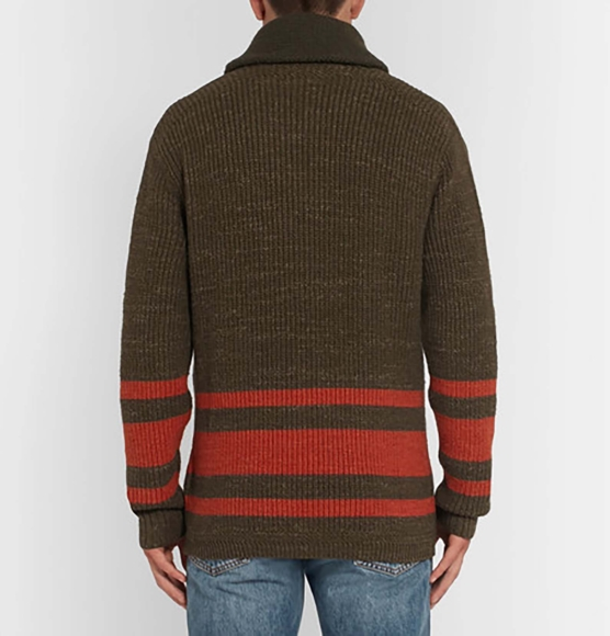 Royal Alpaca Shawl Cardigan Dark brown brick stripes_ v1_ AMZN333_sd333